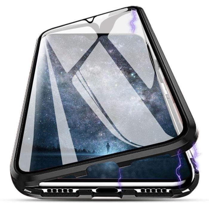 Coque Magnétique Huawei P40 Lite, Plein écran Design Magnétique Adsorption Transparente Etui Arrière et Devant Double Verre TNB