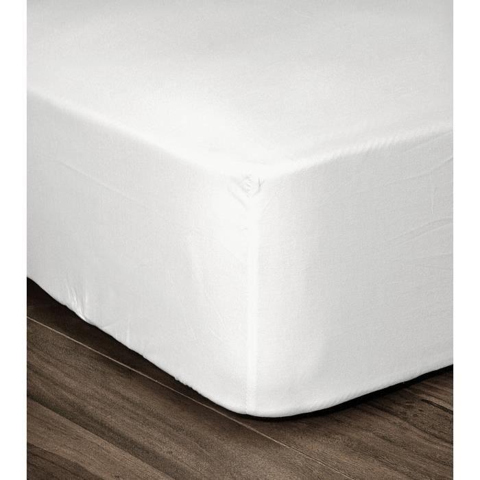 LOVELY HOME Drap Housse 100% coton 90x190x30 cm blanc