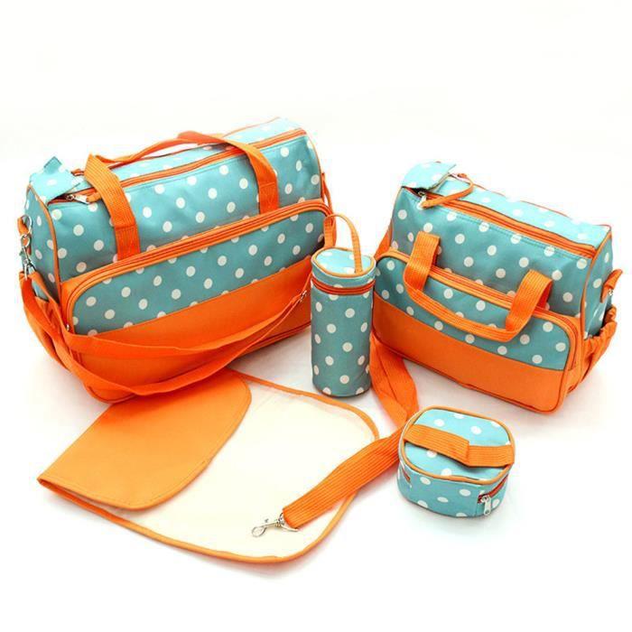 Sac à Langer Bébé 5 Pièces Ensemble Mamen Pour Voyage Promenade Pique-nique Confort Imperméable Résistant à l'usure Orange