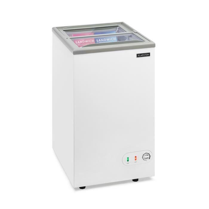 Klarstein Pro Eispalast Congélateur coffre vitré 60 litres -7 niveaux de puissance - Pose libre - Blanc