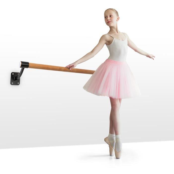 Klarfit BarreMur Barre d'exercice 110 cm pour ballet & danse classique , Ø 38 mm , montage mural , aspect bois - Marron & noir