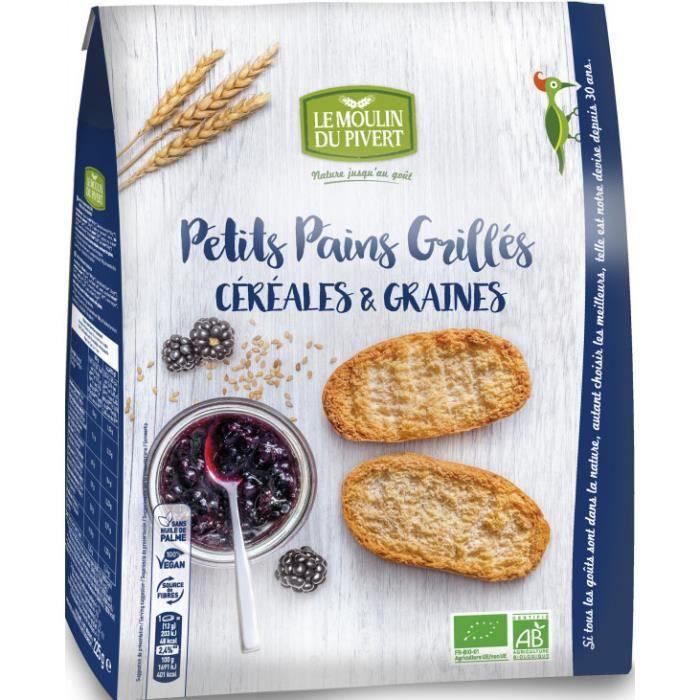 Petits pains grillés céréales & graines 225gr - Le Moulin du Pivert