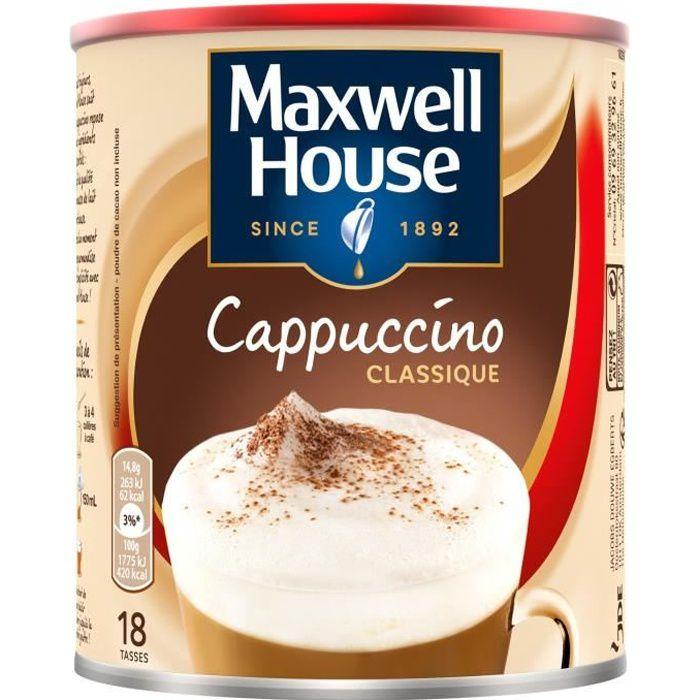 LOT DE 2 - MAXWELL HOUSE Café soluble cappuccino classique - boite de 280 g