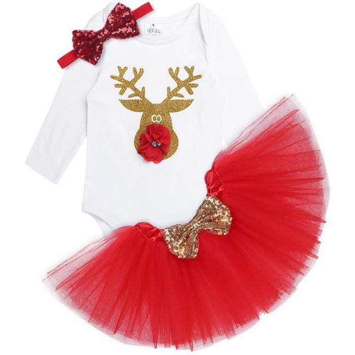 Ensemble Vêtements Noël Bébé Fille Barboteuse Naissance Body en Coton Manches Longues + Tutu Jupe + Bowknot Bandeau Noël 3-18 Mois