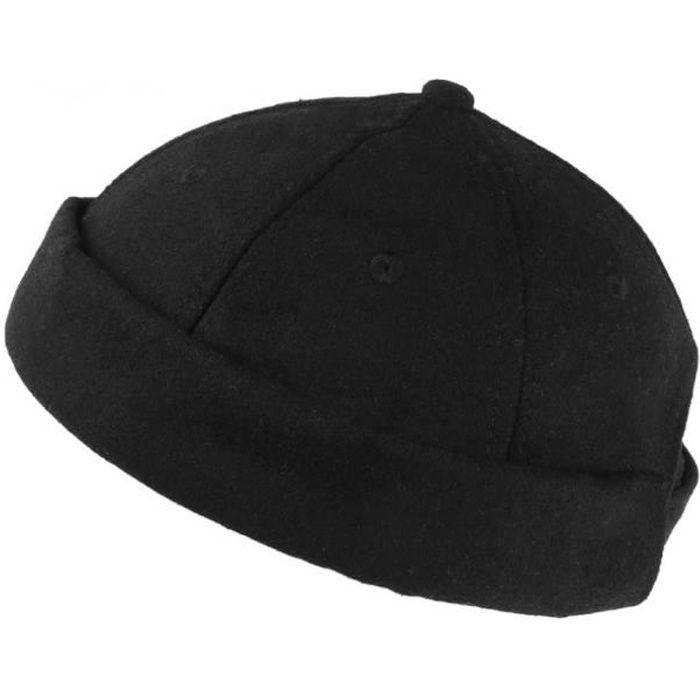 Bonnet Docker Noir en Feutre de Laine Homme et Femme look Hiver Duik - Taille unique - Noir