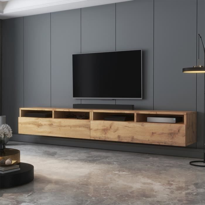 Meuble TV - REDNAW - 200 cm - chêne wotan - 4 niches ouvertes - style moderne