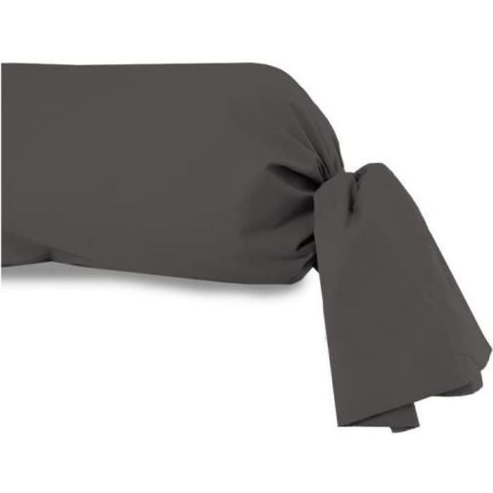 Taie de traversin 45x205 cm en coton 57 Fils SOLEIL D'OCRE anthracite. Cette taie de traversin unie de qualité en pur coton est une