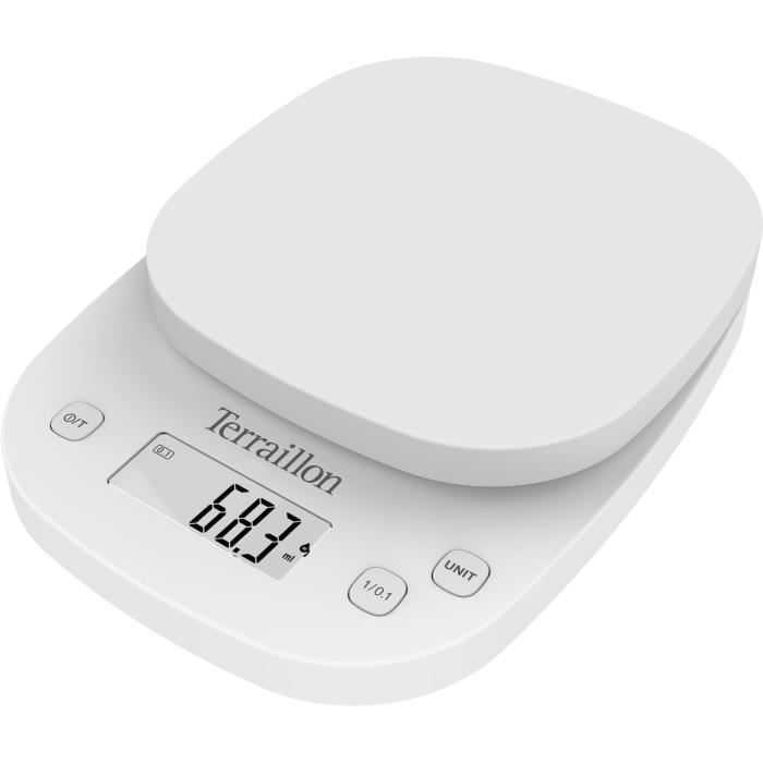 TERRAILLON 14526 - Balance culinaire éléctronique de précision - 2kg - Affichage LCD - 13x12,5x1,2 - Fonction Tare - Blanche