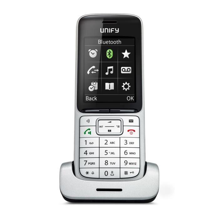 Unify SL5, Téléphone DECT, Haut-parleur, 500 entrées, Identification de l'appelant, Noir, Argent