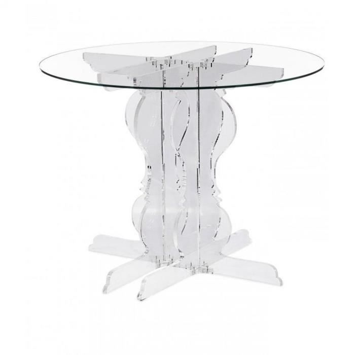 baroque table ronde verre blanc plexi design acril achat. Black Bedroom Furniture Sets. Home Design Ideas