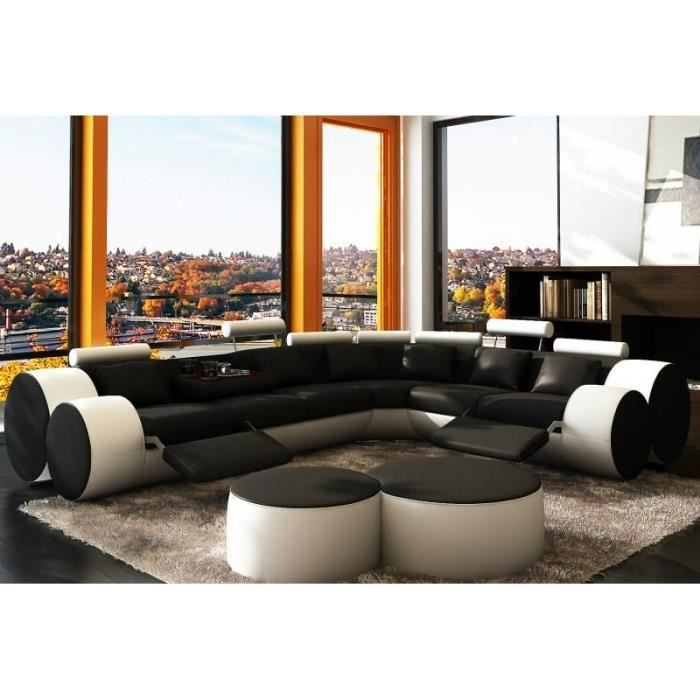 canap d 39 angle design en cuir noir et blanc roma achat vente canap sofa divan cuir. Black Bedroom Furniture Sets. Home Design Ideas