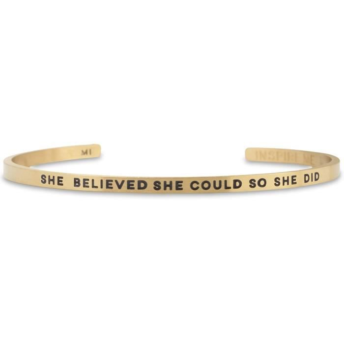 Womens She Believed She Could So She Did Inspireme Bracelet | Adjustable Cuff Bracelet By E4T8C