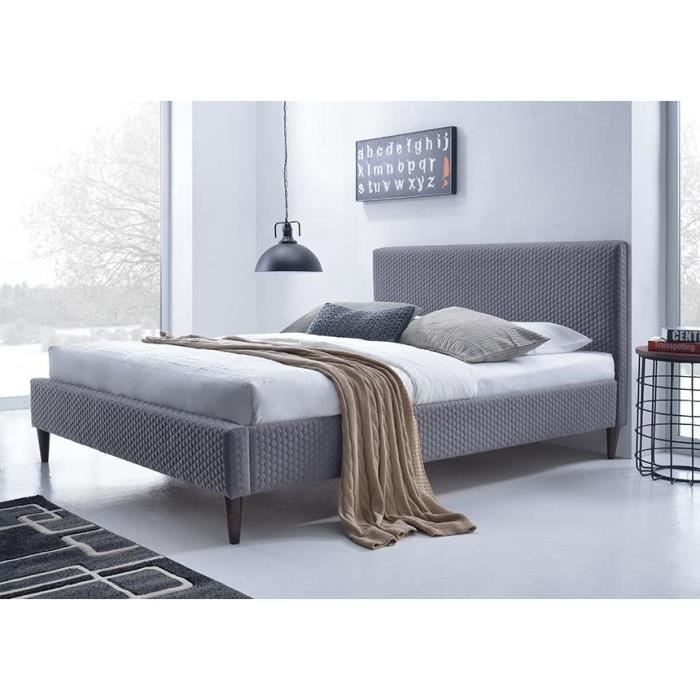 lit tissu gris avec t te de lit flexy 140 x 190 achat vente structure de lit lit tissu gris. Black Bedroom Furniture Sets. Home Design Ideas