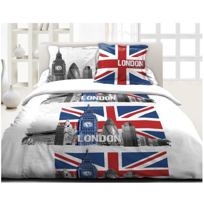housse de couette 220 x 240cm 2 taies union jack achat. Black Bedroom Furniture Sets. Home Design Ideas