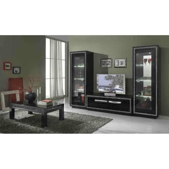 prestige laquee noire ensemble salle a manger vitrine 2 portes meuble tv table carr. Black Bedroom Furniture Sets. Home Design Ideas