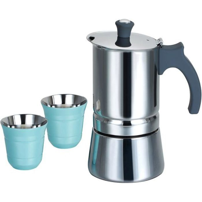 Photo de rossetto-cafetiere-italienne-induction-en-inox-6-tasses-poignee-gris