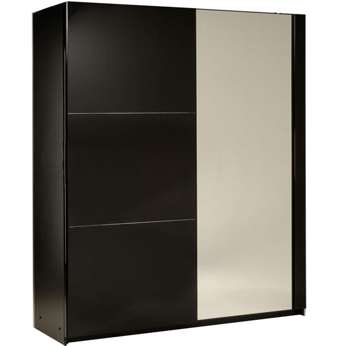 armoire 2 portes coulissantes amber laqu noir achat. Black Bedroom Furniture Sets. Home Design Ideas