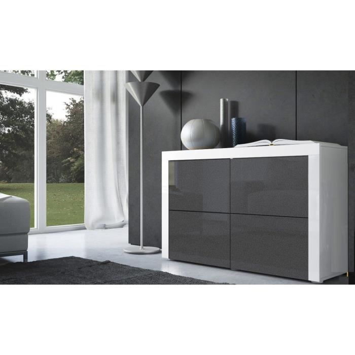commode laqu e blanche et noir m tallique achat vente. Black Bedroom Furniture Sets. Home Design Ideas