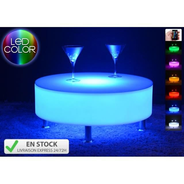 table basse lumineuse led multicolore buckle achat vente table basse table basse lumineuse. Black Bedroom Furniture Sets. Home Design Ideas