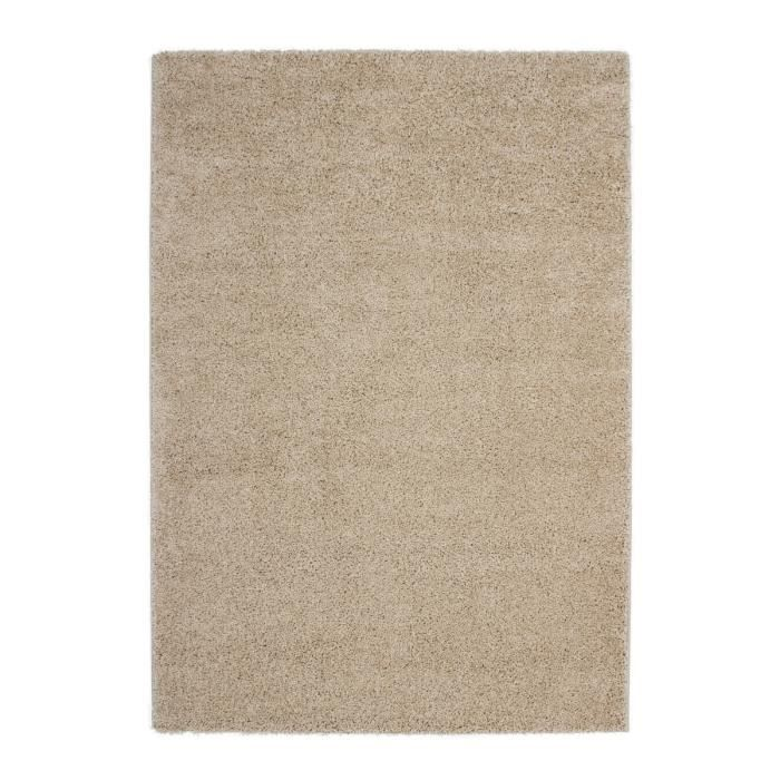 tapis shaggy uni beige 30 mm 190x280 cm achat vente tapis cdiscount. Black Bedroom Furniture Sets. Home Design Ideas