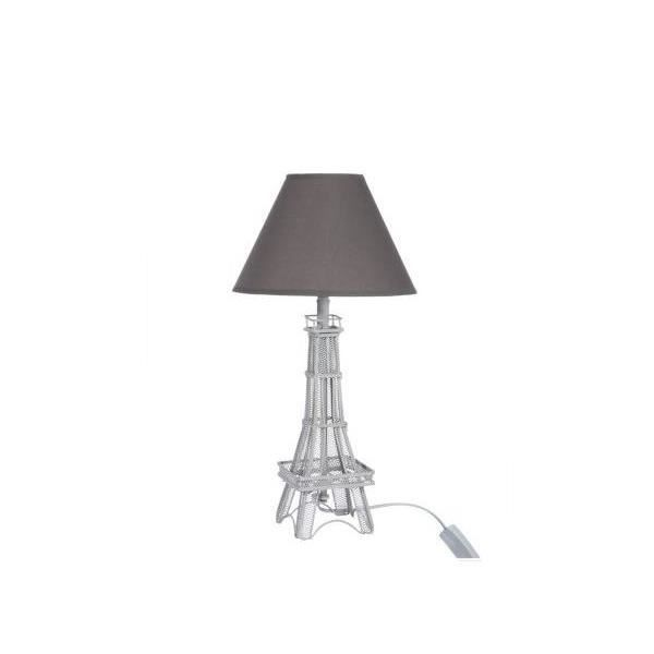 lampe tour eiffel neuve lumi re socle en m tal abat jour. Black Bedroom Furniture Sets. Home Design Ideas