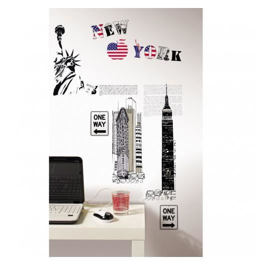 Sticker new york xl cas lio achat vente stickers for Autocollant mural new york