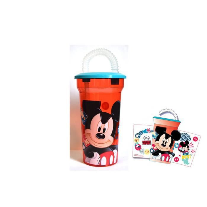 verre avec couvercle et paille mickey mouse disney. Black Bedroom Furniture Sets. Home Design Ideas