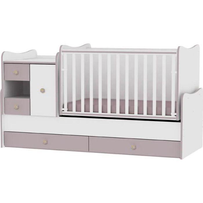 Le lit se transforme en lit dadolescent, bureau, armoire multifonction Lit b/éb/é /évolutif//combin/é Maxi Plus Ch/êne clair Lorelli