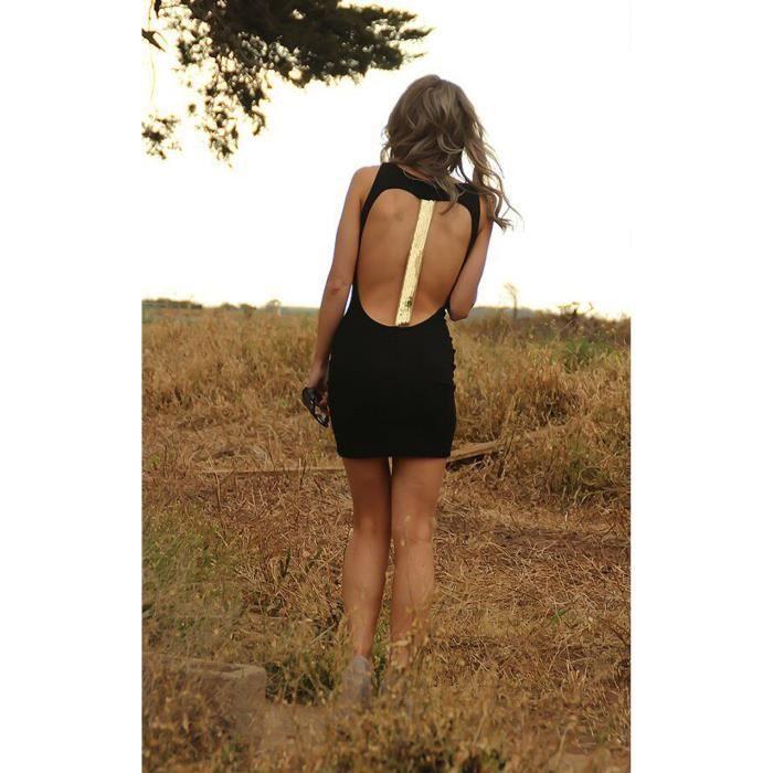 Club Wear robe de fete femmes d/'été femmes solide éroder Dos-Nu Mini