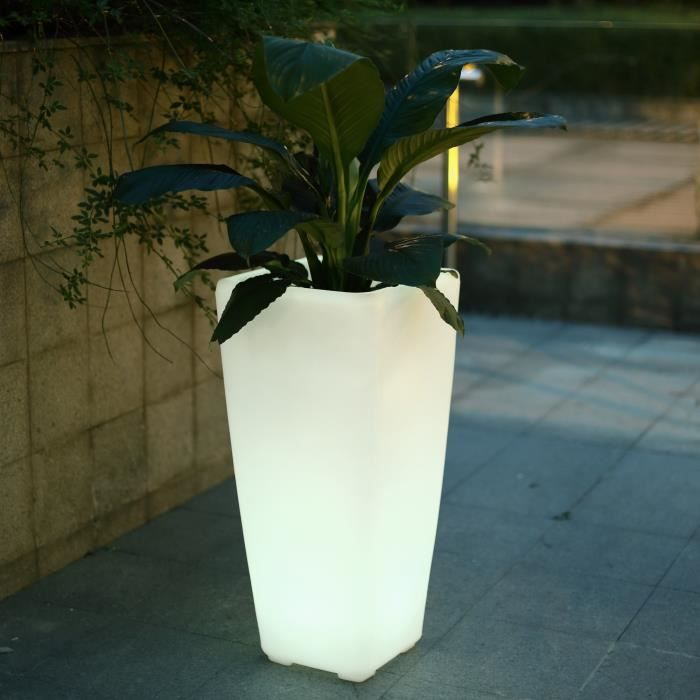 Polaroid pot led t l commandable 32x32x70 cm x1 achat vente pot led t l c - Pot de fleur lumineux leroy merlin ...