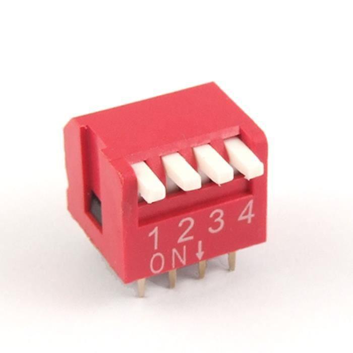 sourcing map 10 Pi/èces de 2,54 mm 4 Faites glisser le commutateur DIP de type Red