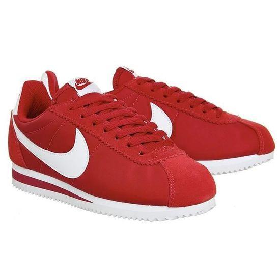 Basket pour Hommes Nike Cortez Cuir de base rouge Rouge ...