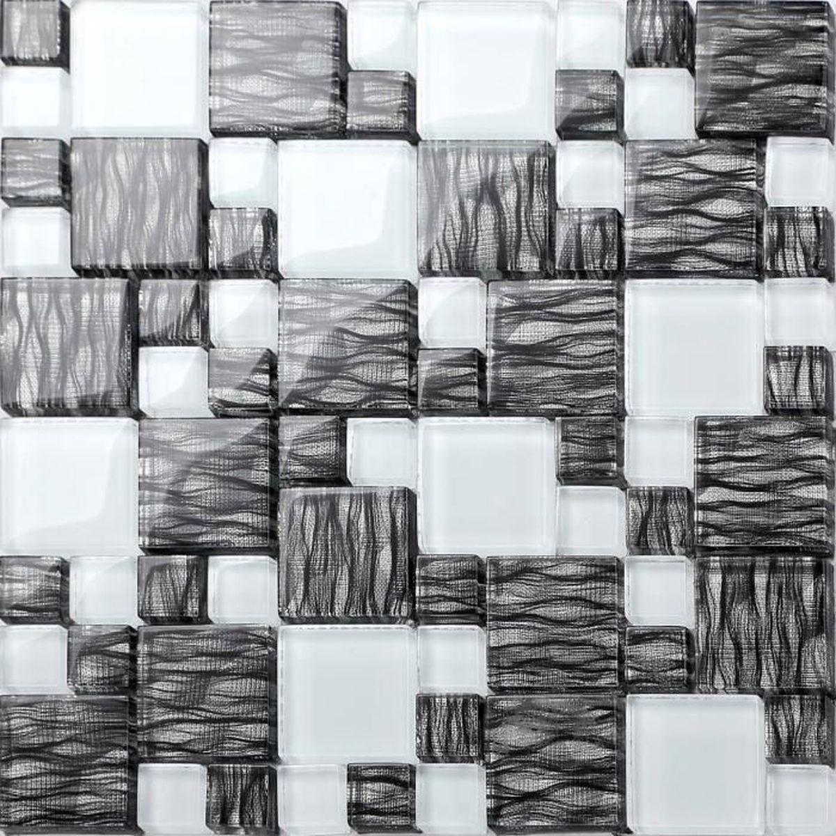 Carrelage Blanc Joint Noir carrelage mosaïque en verre. noir et blanc. motif rayures