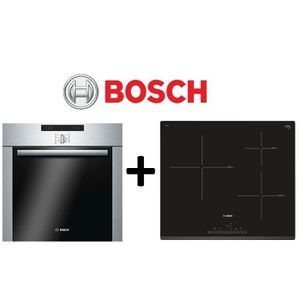 PACK cuisson BOSCH: HBA64B252F-Four pyrolyse 60L Inox+PIJ631FB1E-Table de cuisson ? Induction 3 zones- Affichage digital