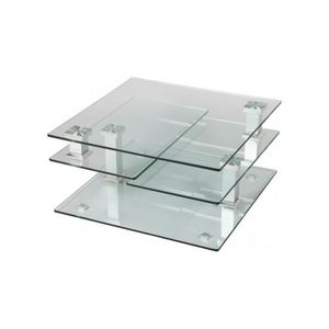Table basse 3 plateaux verre achat vente table basse 3 for Table basse conforama en verre