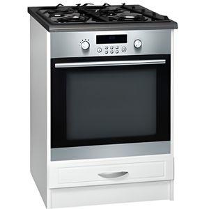 ELEMENTS BAS Meuble cuisine bas 60 cm 1 abattant DINA blanc