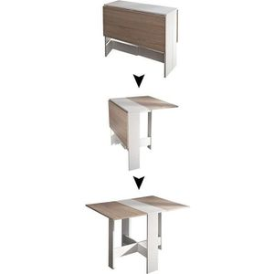TABLE À MANGER SEULE JEOBEST® Table Pliante avec 2 Abattants Blanc/Chên