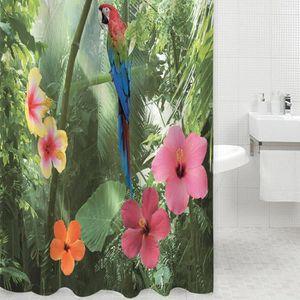 RIDEAU DE DOUCHE 3D douche Polyester imperméable Rideau perroquet N