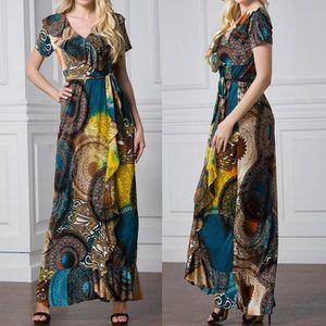 ROBE Mode féminine Casual V-cou imprimé floral Volants