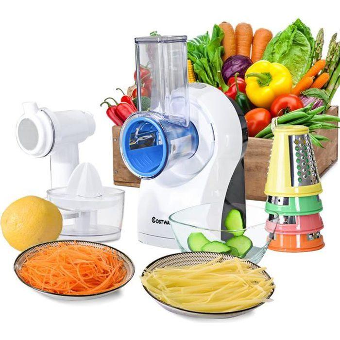 COSTWAY Découpe Légumes 3 en 1 avec 5 Lames en Acier Inoxydable 150W Fin Épais Trancher Fromage Mandoline/Râpe Électrique Fruits