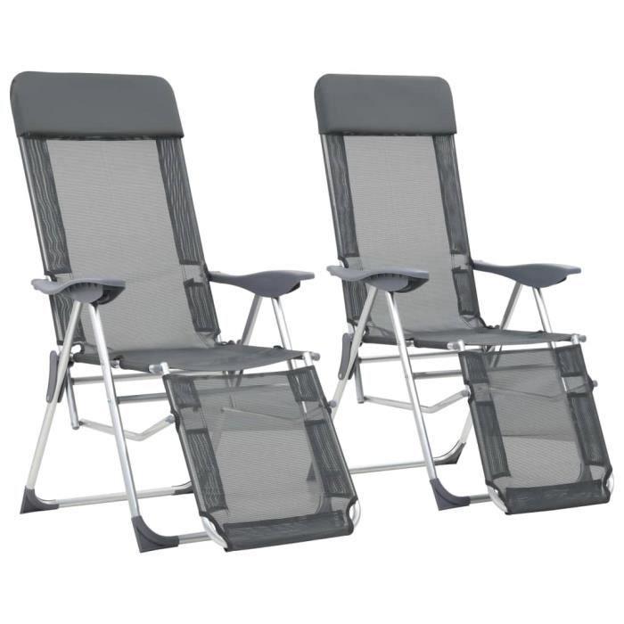 Chaises de camping pliables 2 pcs et repose-pied Gris Aluminium YULINSHOP