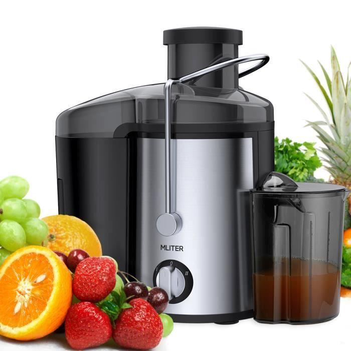 Centrifugeuse de fruits entiers 400W Mliter - bouche 65 mm - 2 vitesses + jarre à jus de 450 ml + récipient à pulpe 1500 ml - Noir
