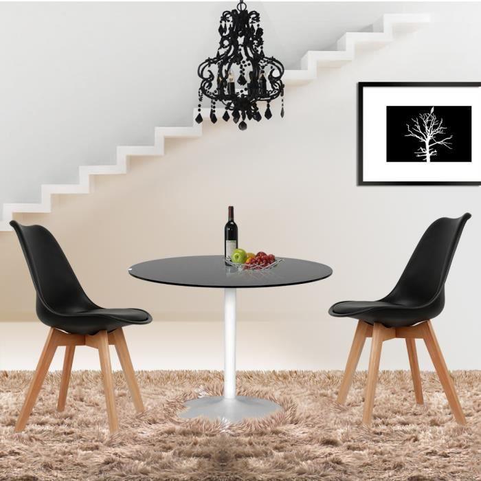 Lot de 4 chaises noires avec coussin-Haute qualité