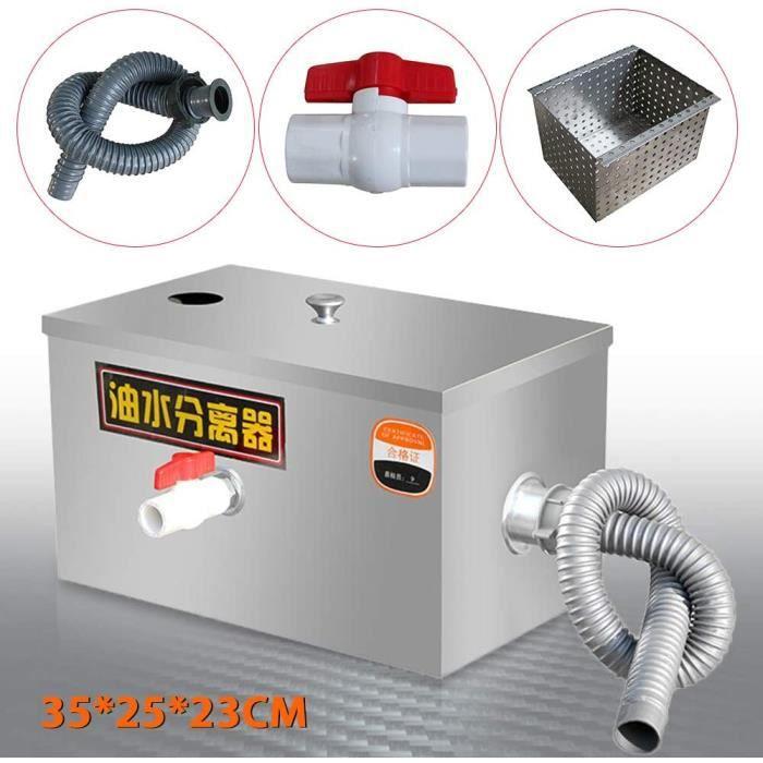 35 * 25 * 23cm Intercepteur de piège à graisse d'acier inoxydable, Séparateur huile-eau Eau usée de cuisine de restaurant