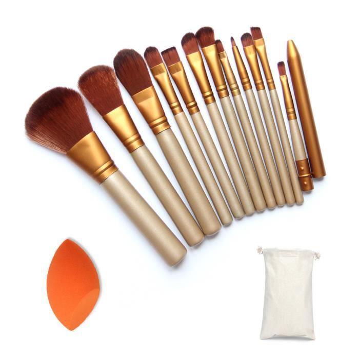12pcs/Set de Pinceaux à Maquillage Professionnelles+Bevel puff