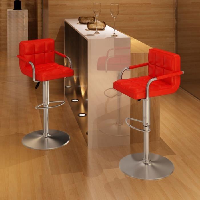 Magnifique Lot de 2 Tabouret de salon Tabouret de bar Design - Chaise de bar Rouge - Similicuir @31172