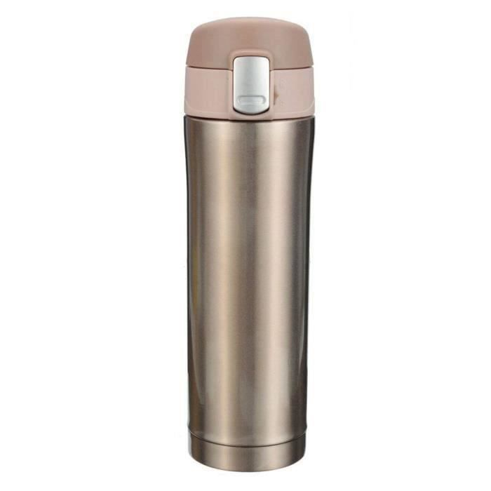 500ml Thermos de the, Mug isotherme d'acier inoxydable, tasse cafe, bouteille d'eau 12 heures or