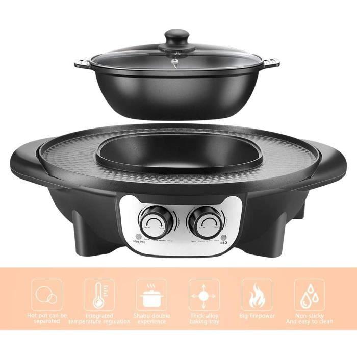 Barbecue Electrique, TOPQSC 2 en 1 Fondue Electrique Hot Pot BBQ Appareil Fondue, Barbecue électrique portable sans fumée 2 en 1 éle