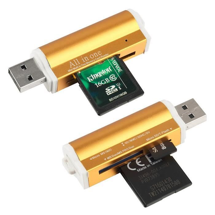 USB 2.0 Lecteur de Carte Mémoire Flash Multi SDHC TF M2 MS MMC