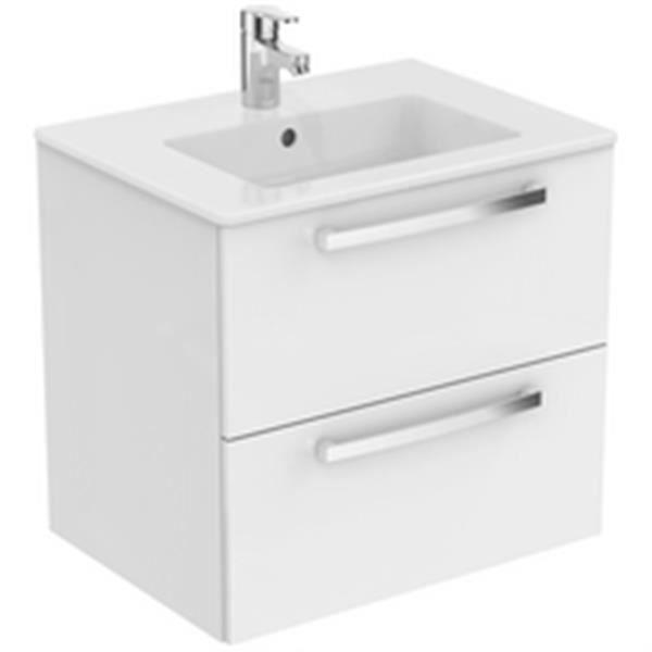 Ideal standard Meuble Ulysse avec plan 60cm 2 tiroirs blanc brillant réf E3256WG
